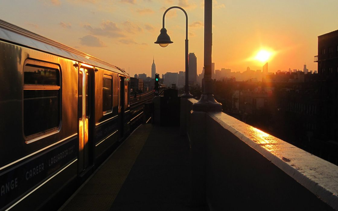 New York city NYC USA evening sunset sun track train skyscrapers city d wallpaper