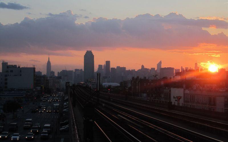 New York city NYC USA evening sunset sun track train skyscrapers city wallpaper