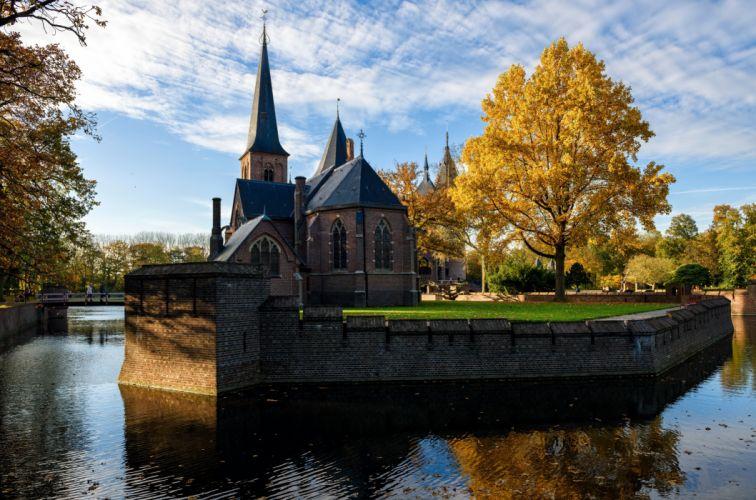 Netherlands Castle Temples River De Haar Trees Cities autumn wallpaper