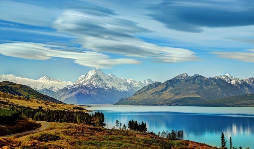 New Zealand Mountains Lake Sky Lake Pukaki Nature wallpaper
