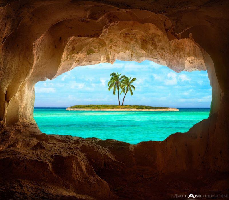 Pacific Caribbean cave ocean tropical island wallpaper