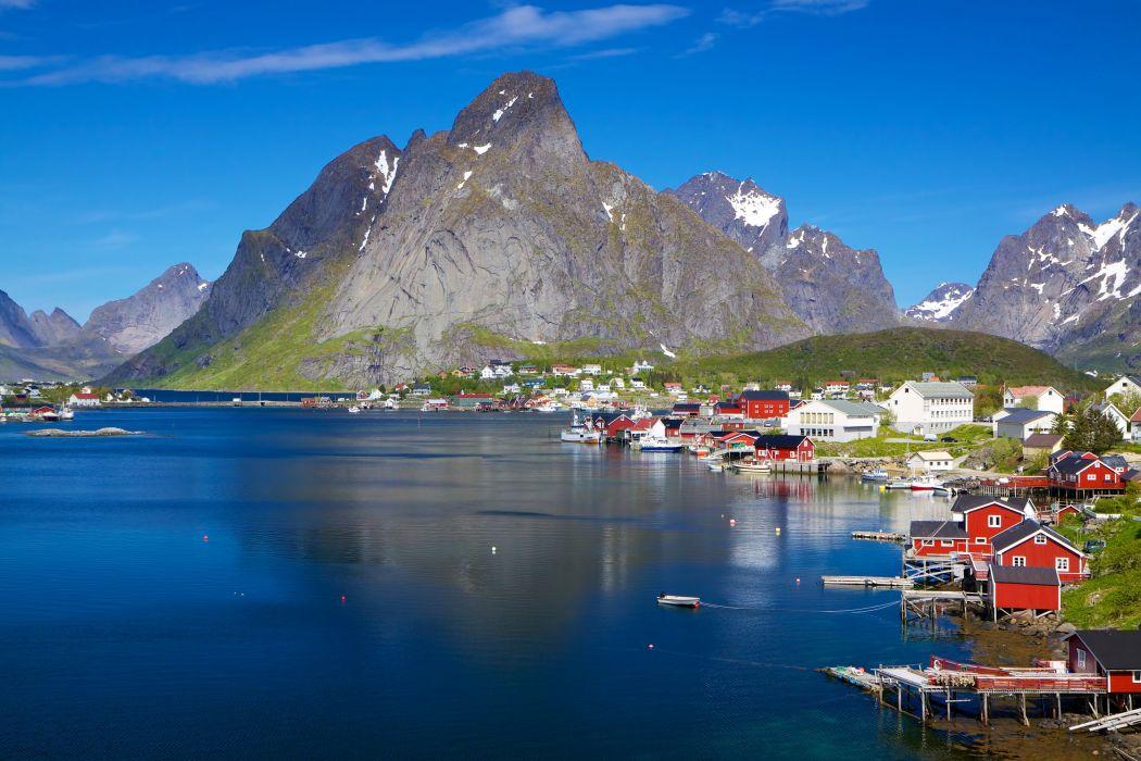 Norway House Mountains Lake Lofoten Cities Nature wallpaper