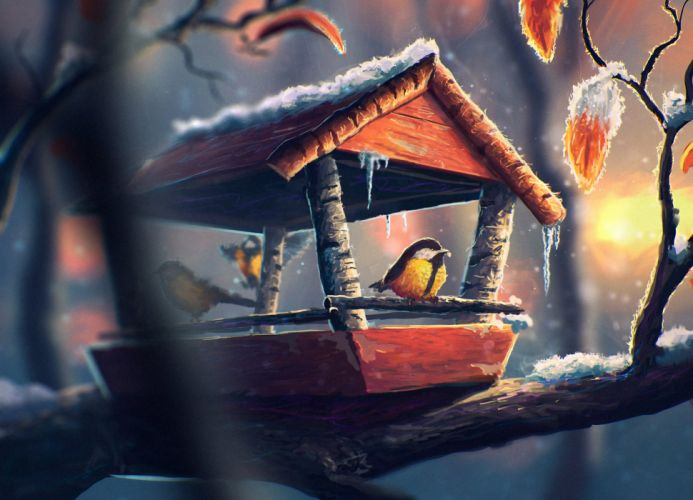 Painting bird art feeder snow ice cold animal winter wallpaper