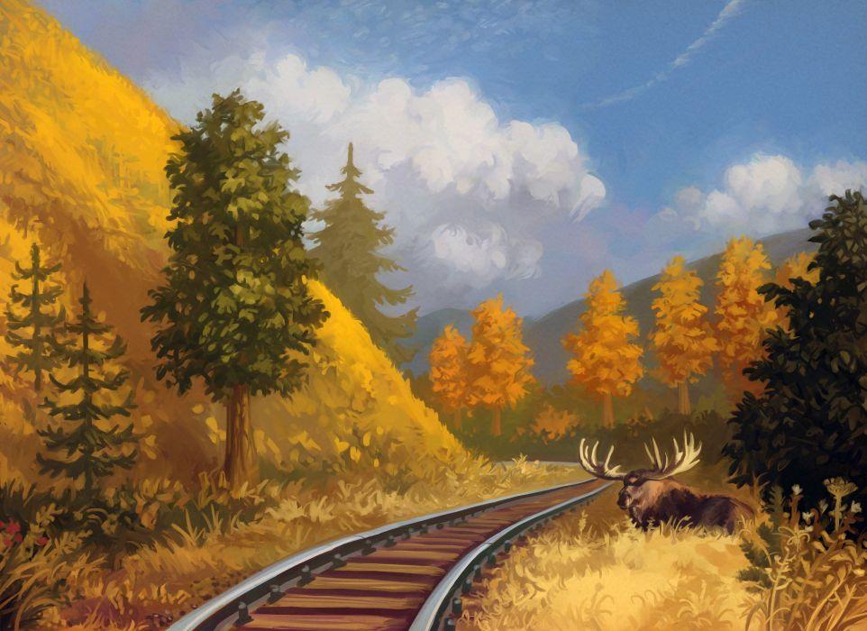Painting Art Moose Railroad Nature Animals train moose deer wallpaper