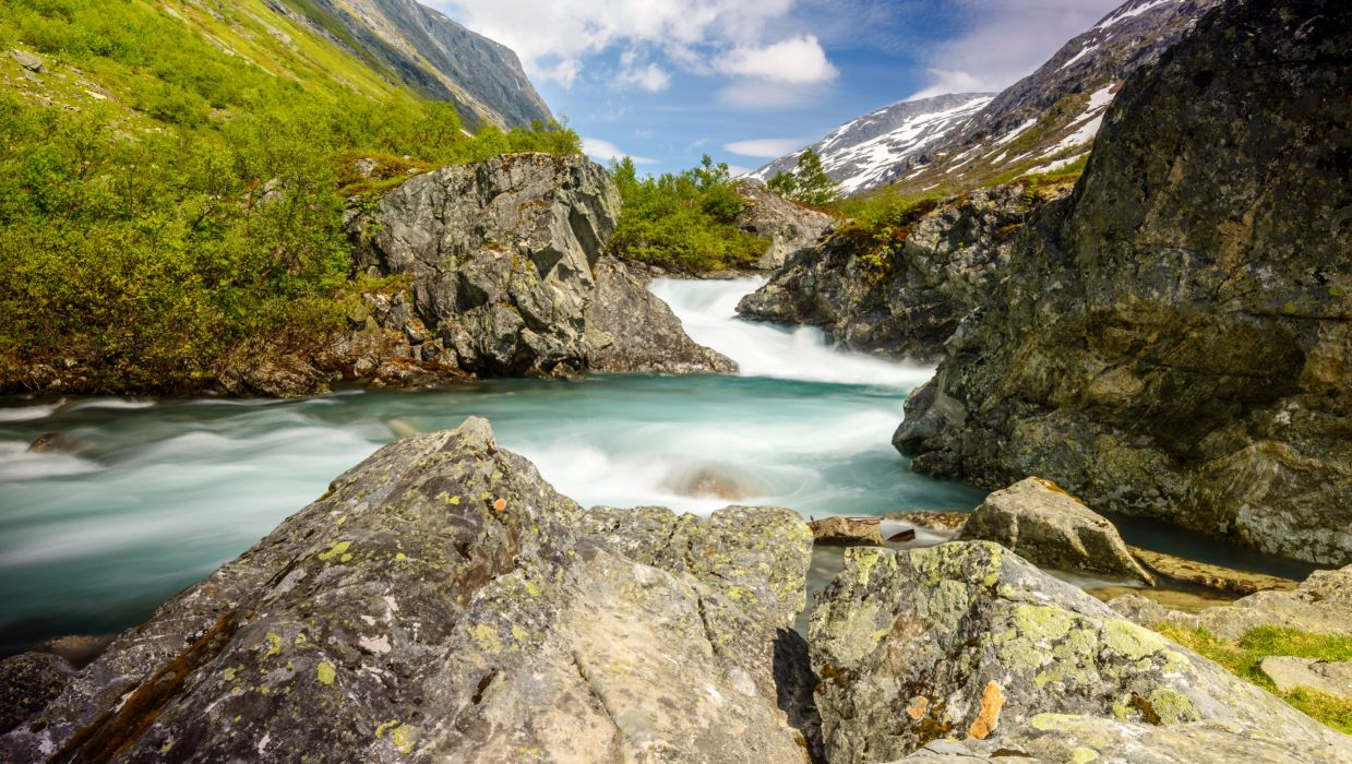 Norway Mountains River Nature wallpaper