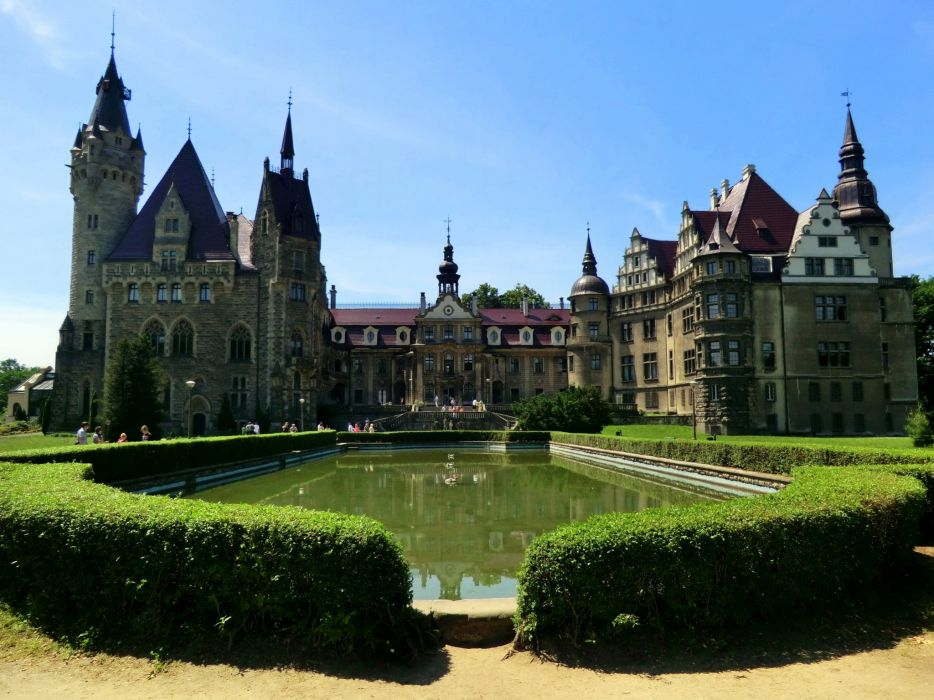 Poland Castles Fountains Moszna Castle wallpaper