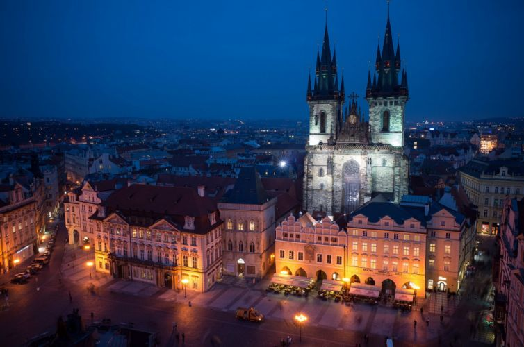 Prague Czech Republic church cathedral construction architecture lighting night blue sky city wallpaper