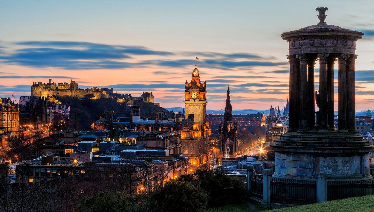 scotland calton hill edinburgh dugald stewart monument wallpaper