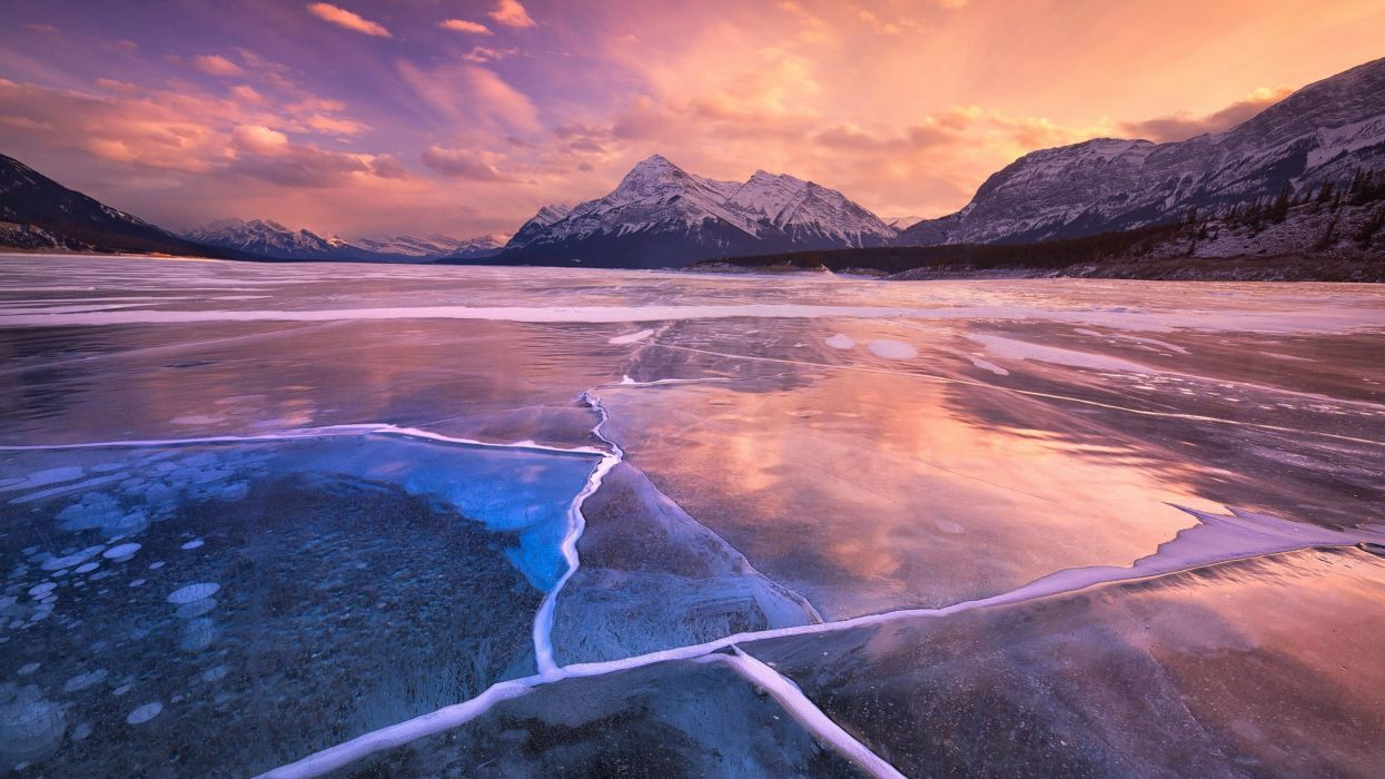 sunset ice sky mountains clouds lake winter frozen wallpaper