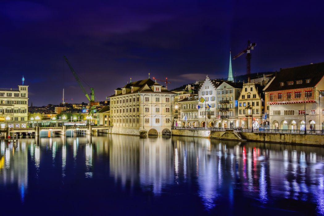 Switzerland Houses River Gockhausen Night Cities wallpaper