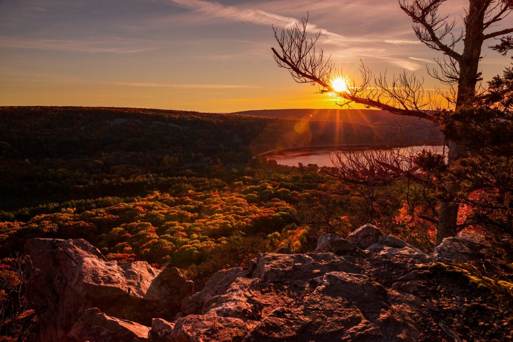 trees sunset Wisconsin United States Devils Lake wallpaper