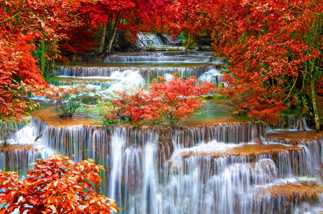 Thailand Seasons Autumn Waterfall Kanchanaburi Province Nature wallpaper