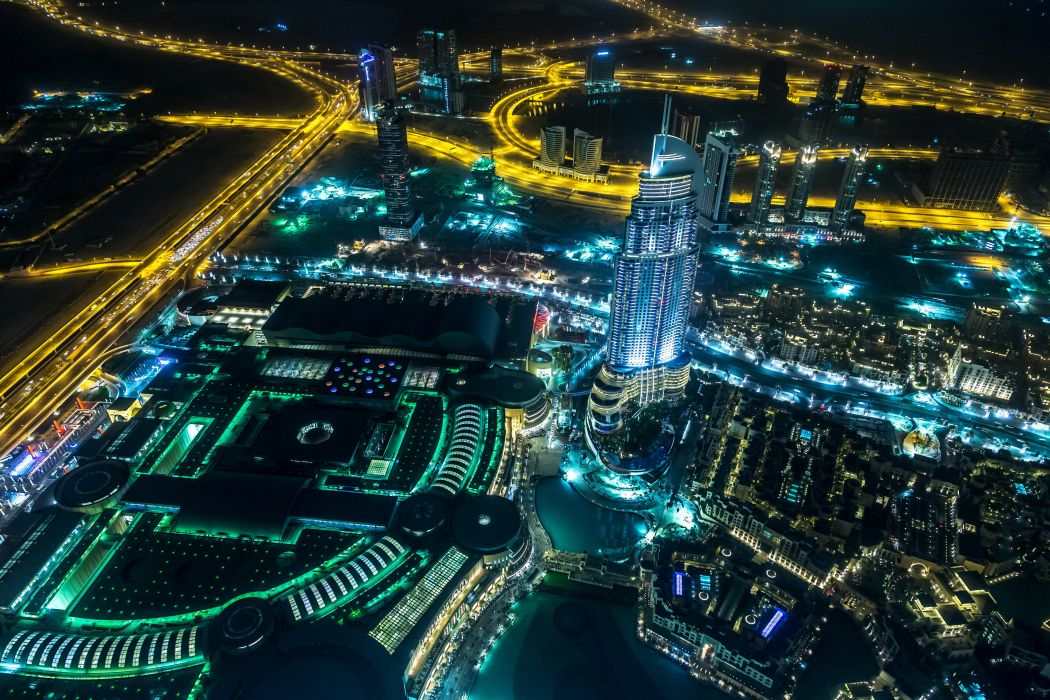 United Arab Emirates Roads Dubai Megapolis Night From above Cities wallpaper