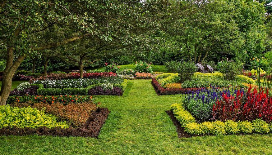 USA Garden Longwood Kennett Square Lawn Shrubs Grass Nature wallpaper