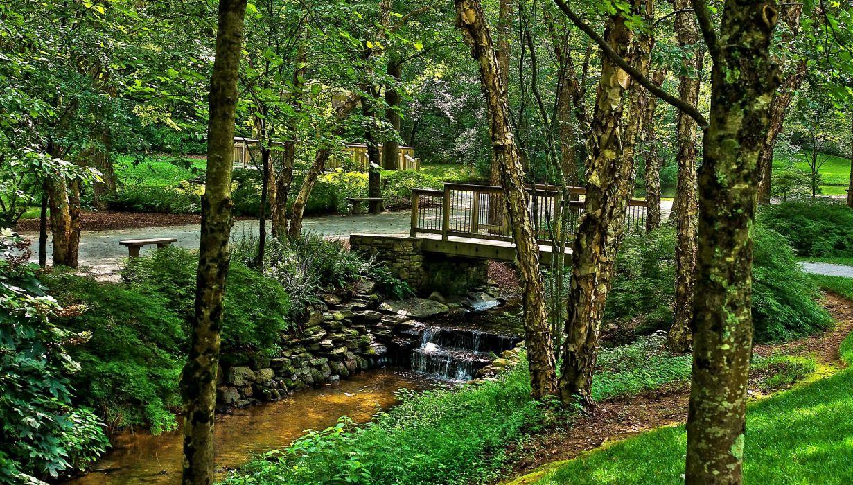 USA Park River Ground Gibbs Gardens Trunk tree Nature wallpaper