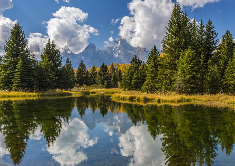 USA Park Lake Water Grand Teton Fir Clouds Nature reflection wallpaper