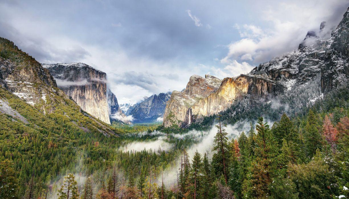 USA Park Mountains Forests Yosemite Nature waterfall wallpaper