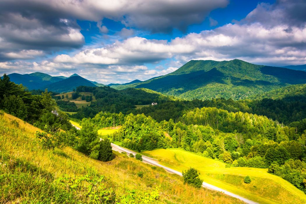 USA Scenery Mountain Forest Appalachian Clouds Nature wallpaper