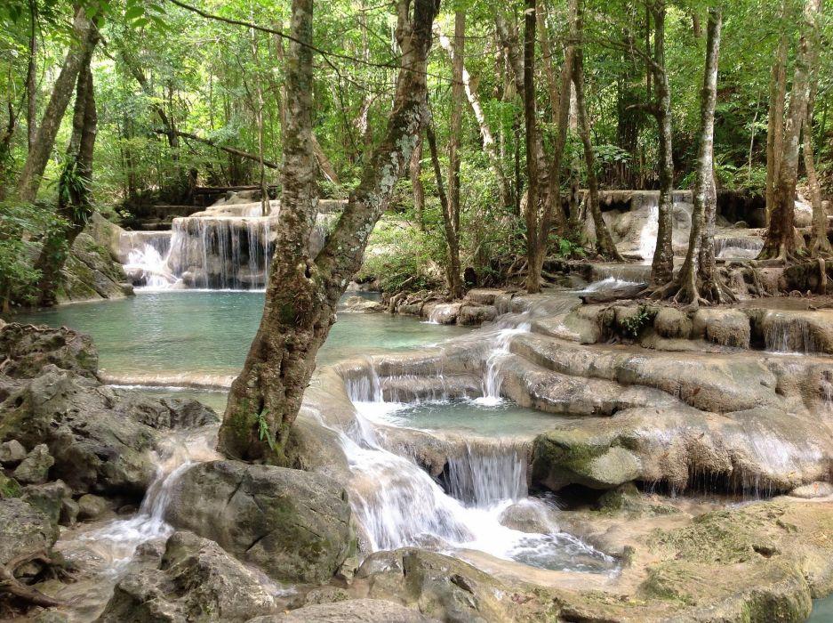 waterfall cascade forest trees Kanchanaburi Thailand Kanchanaburi Thailand Erawan wallpaper