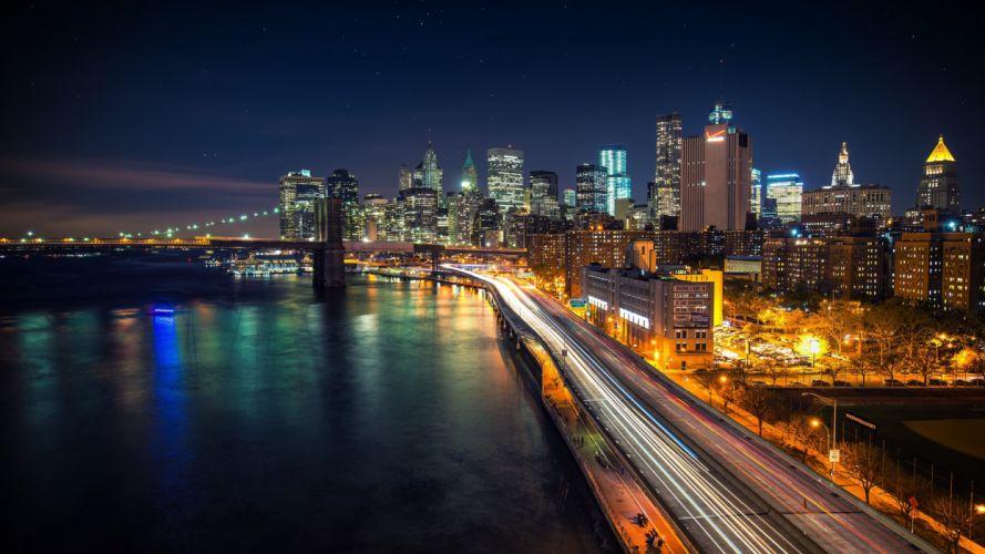 USA Skyscraper Bridge Brooklyn Bridge East River New York City Night Cities wallpaper