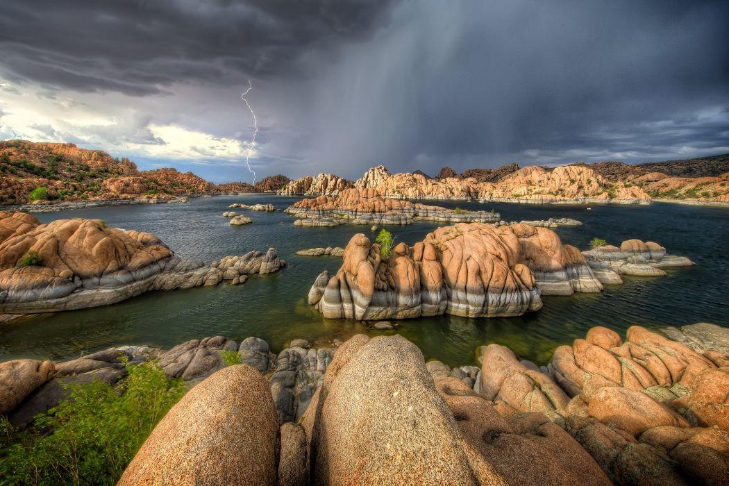 Watson storm watson lake arizona rain lightning wallpaper