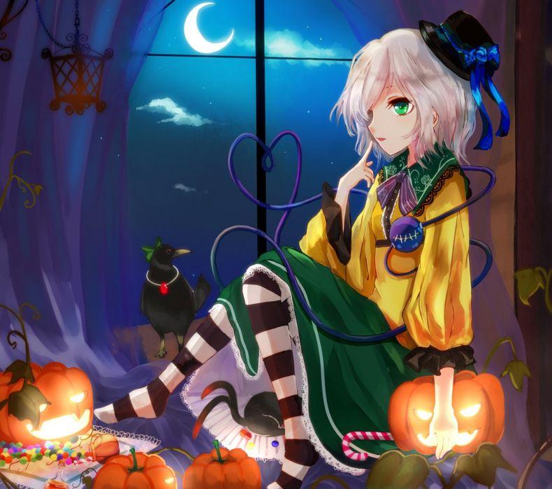 touhou halloween anime girl bird animal moon star blue sky short
