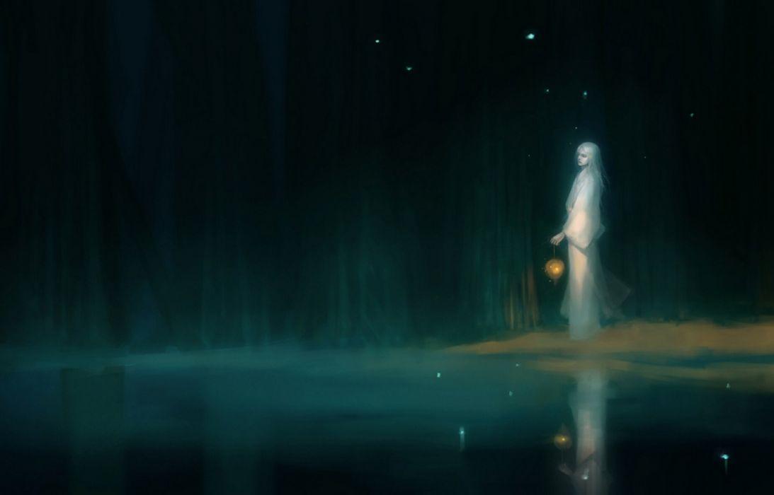 lake anime fantasy girl white kimono dark forest wallpaper
