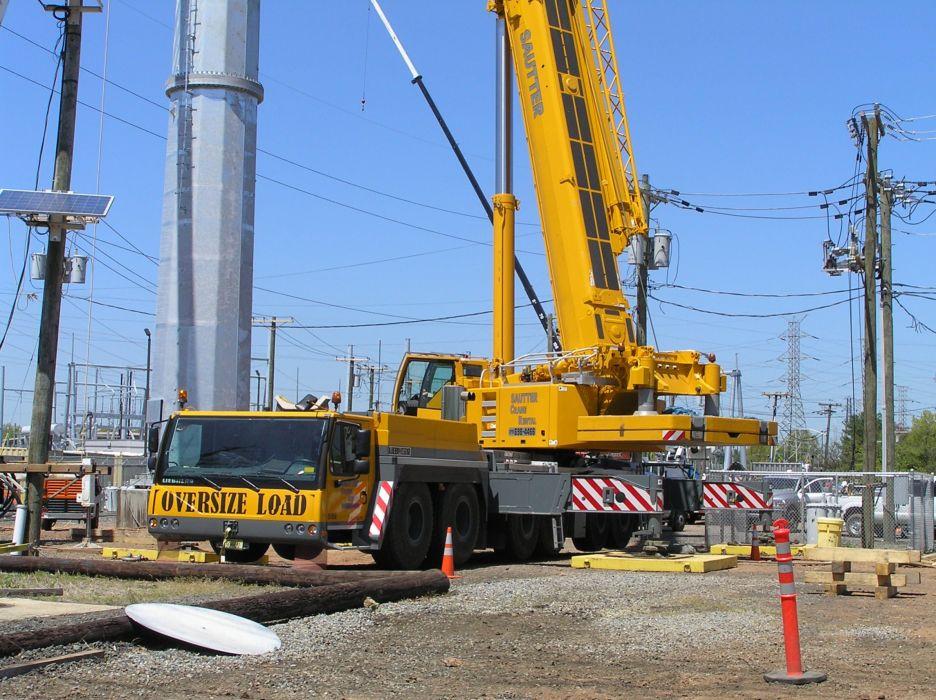 MOBILE CRANE construction truck semi tractor ariel cranes boom wallpaper