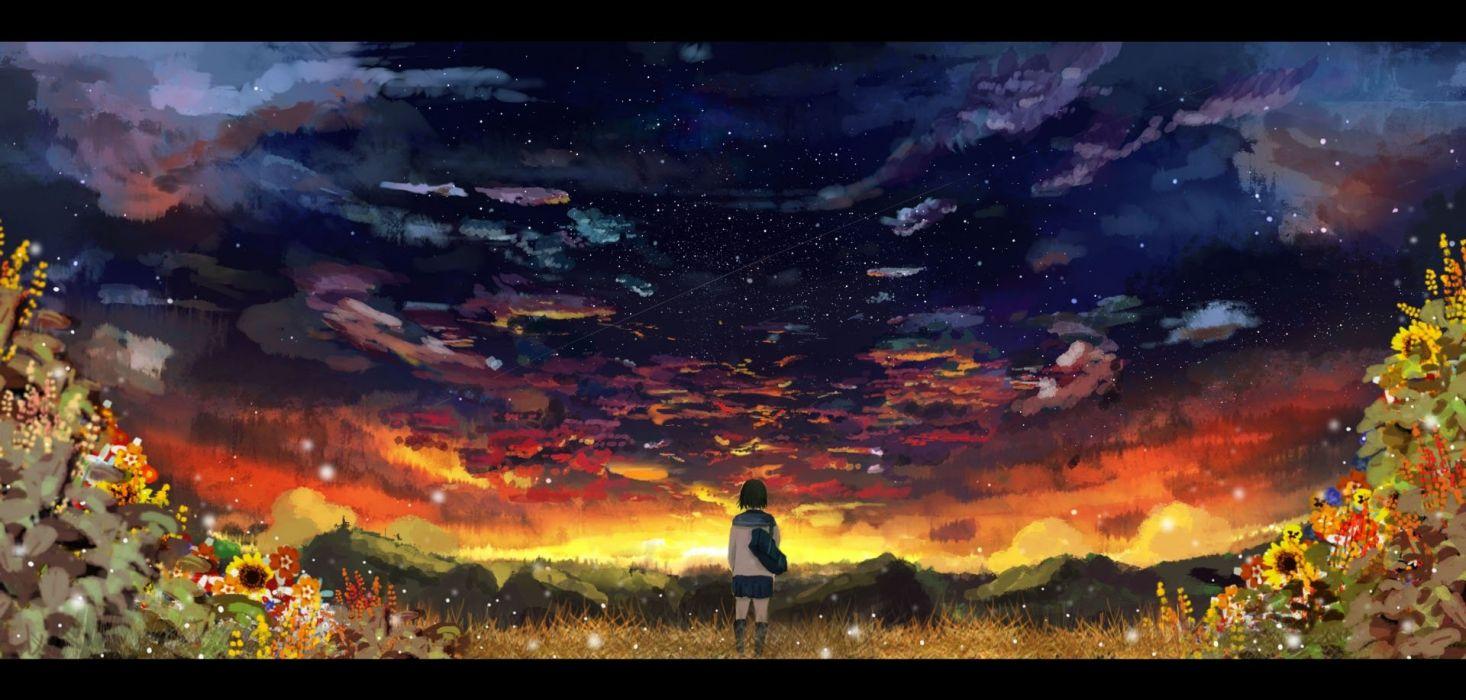 anime sky cloud school girl uniform flower wallpaper