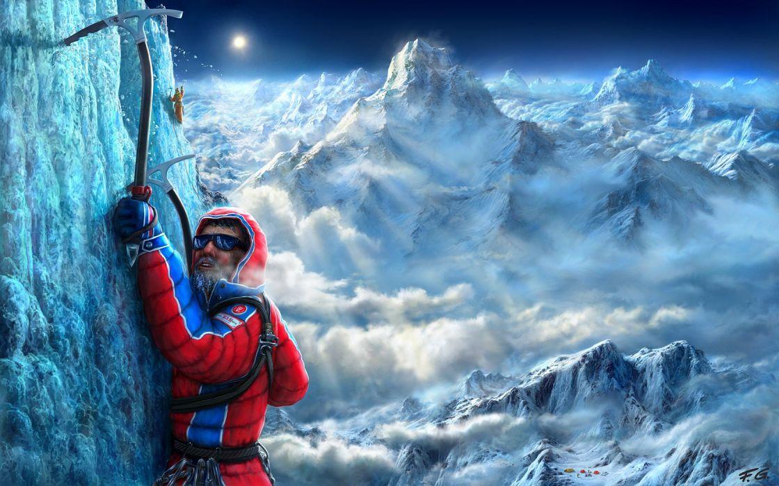 mountain sport man snow sun light wallpaper