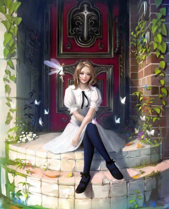fantasy girl blonde fairy wing flower dress butterfly wallpaper