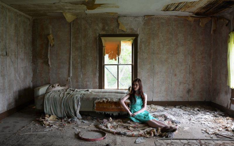 BEDROOM ABANDONED - girl sad bed window broken wallpaper