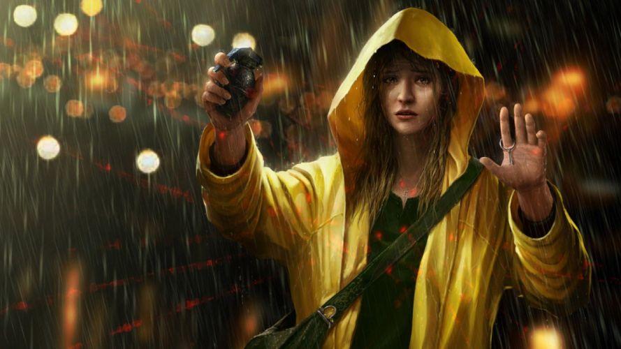 CROSSHAIRS - girl grenade rain raincoat wallpaper