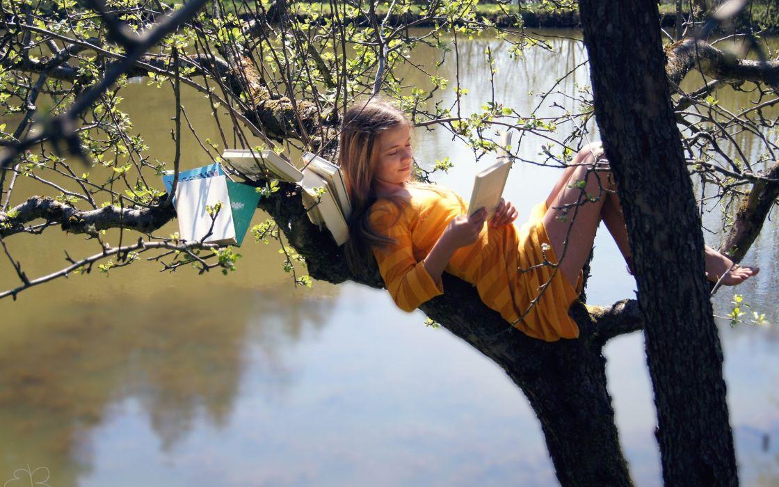 SENSUALITY - girl tree read books lake legs wallpaper