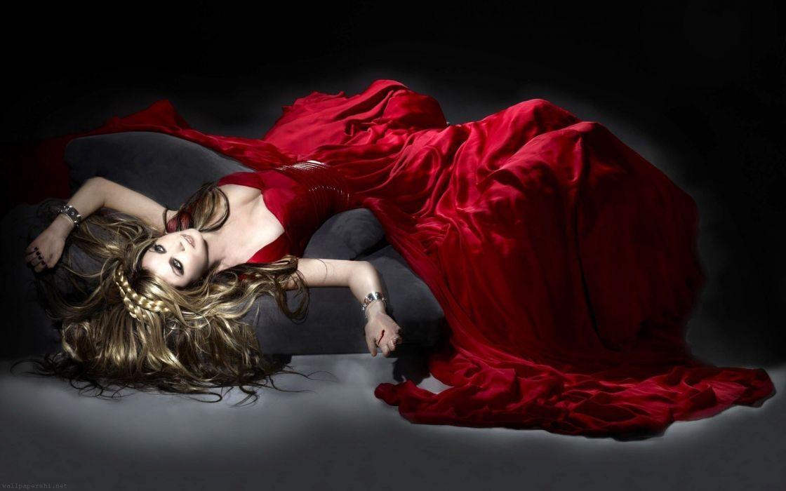 SENSUALITY - sarah brightman model sofa girl red dress wallpaper