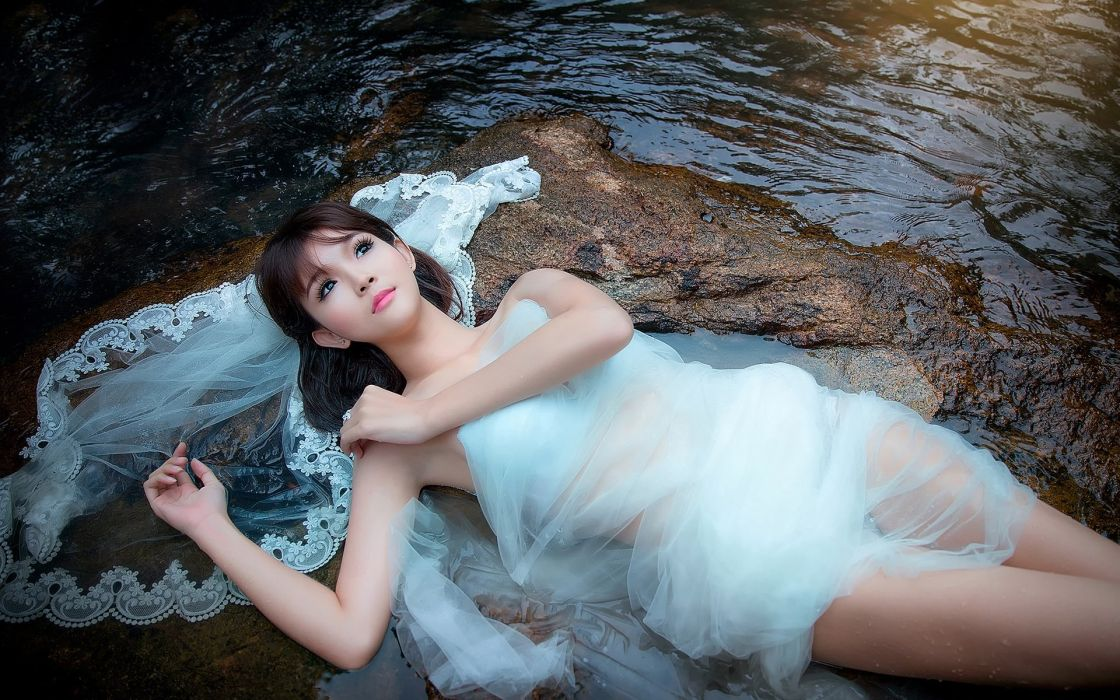 SENSUALITY - stones stream beautiful girl white dress wallpaper