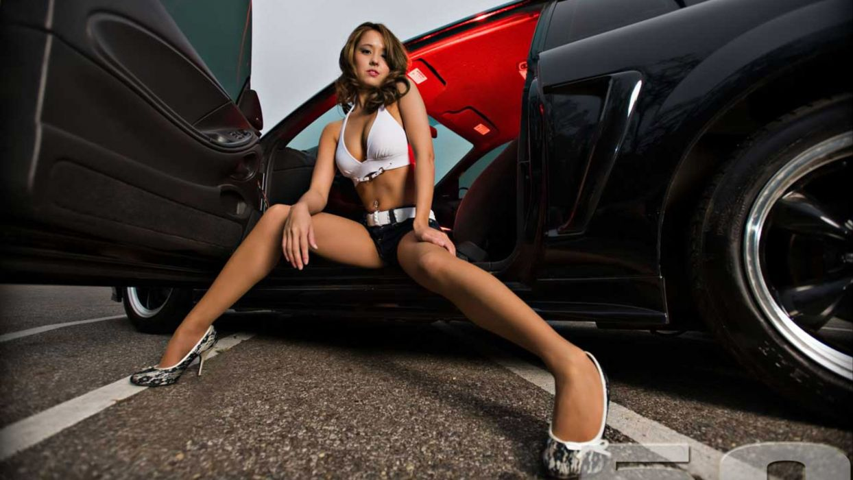 WOMEN AND MACHINES - sensuality brunette girl car legs shoes wallpaper