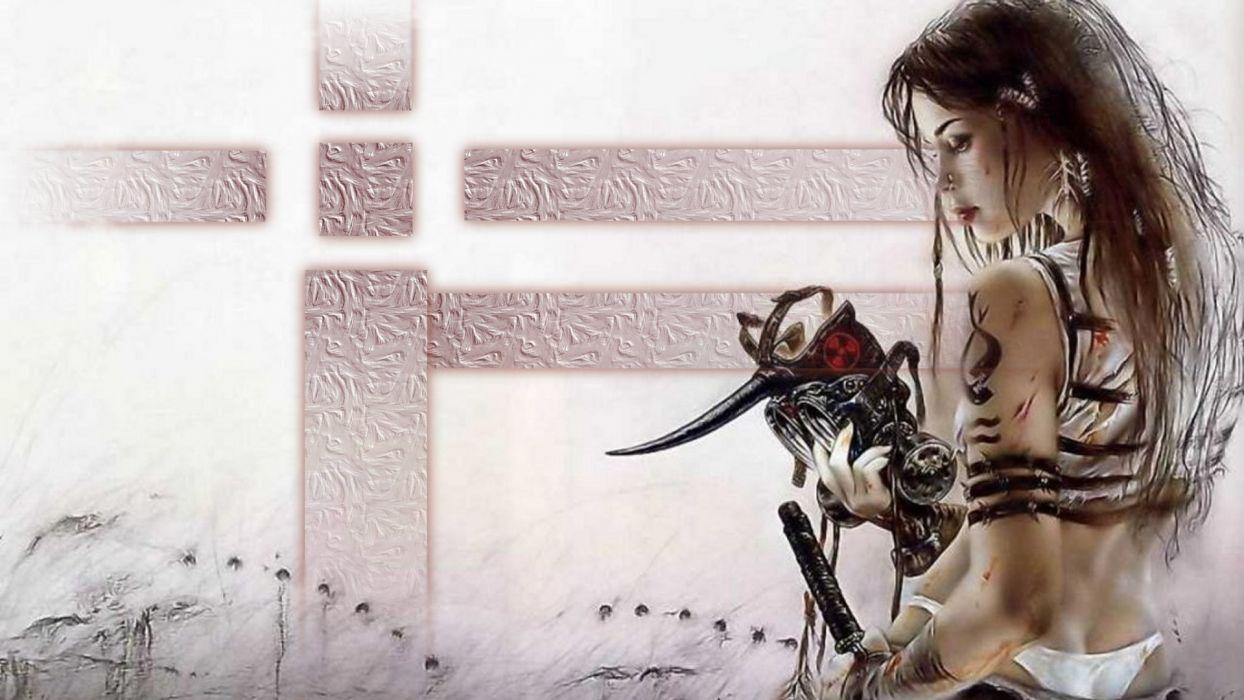 WOMEN WARRIORS - sword girl gothic tattoo fantasy art mask wallpaper