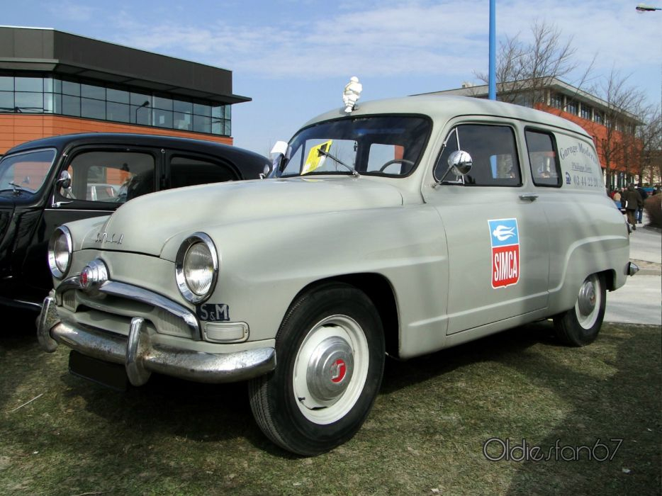 Simca aronde classic french cars van delivery wallpaper