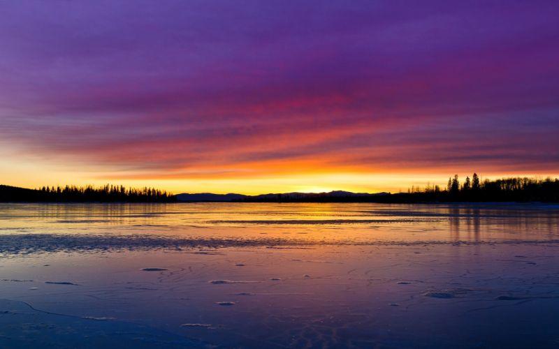 lake forest sky water sunrise wallpaper