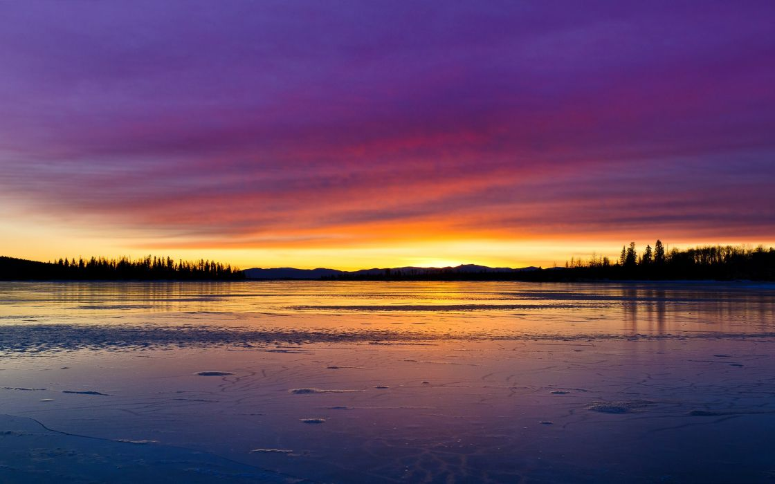 lake forest sky water sunrise wallpaper