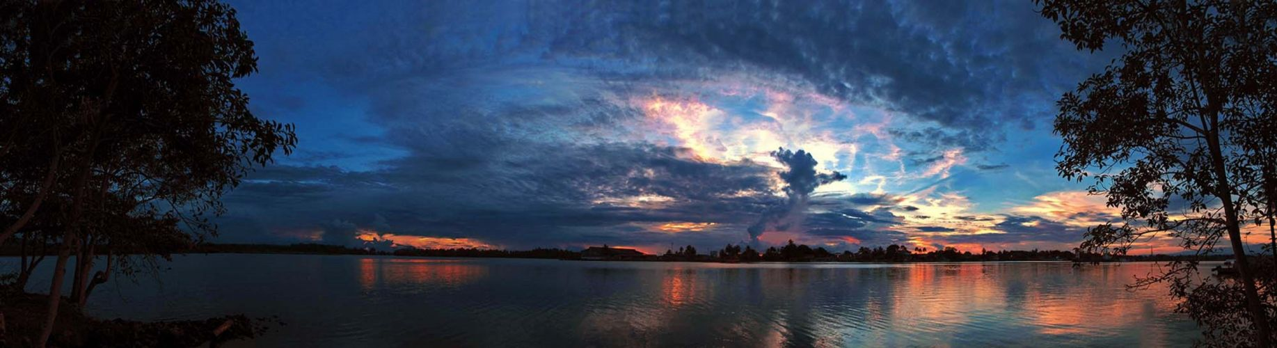 panorama dual monitor water sky clouds west- of- the- sun wallpaper
