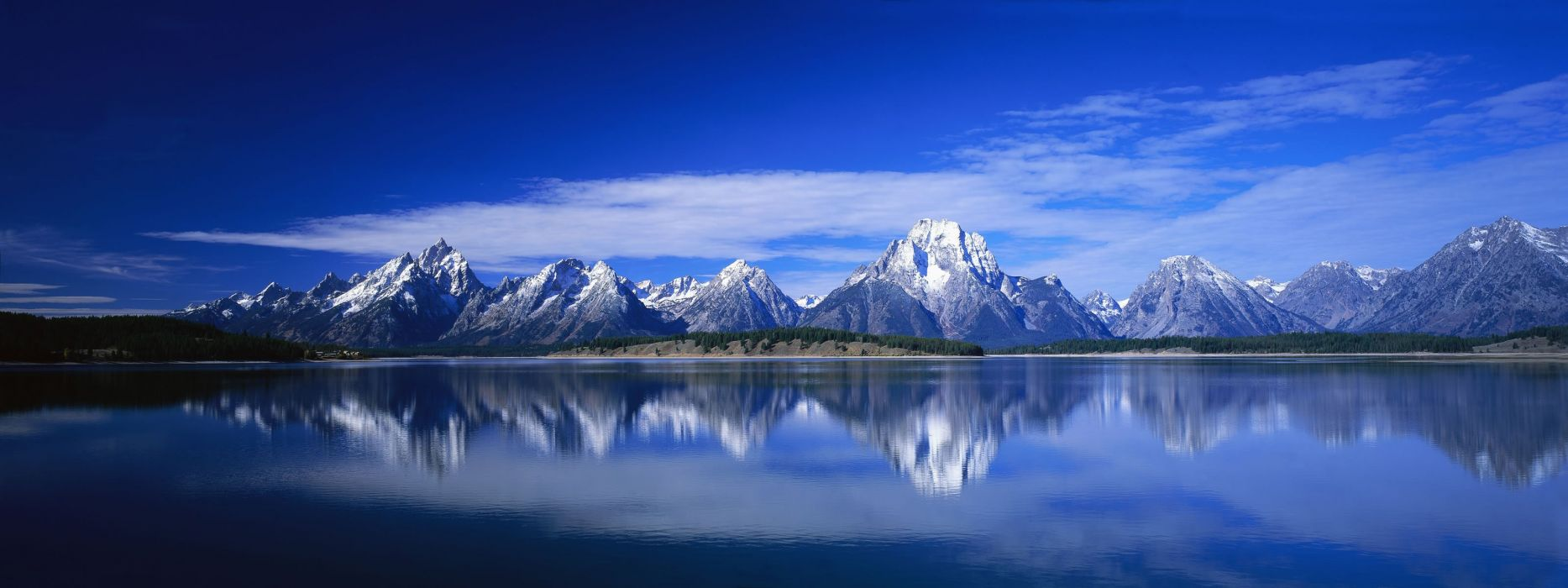 panorama dual monitor blue sky panorama dual monitor mountain forest lake reflection in mirror wallpaper
