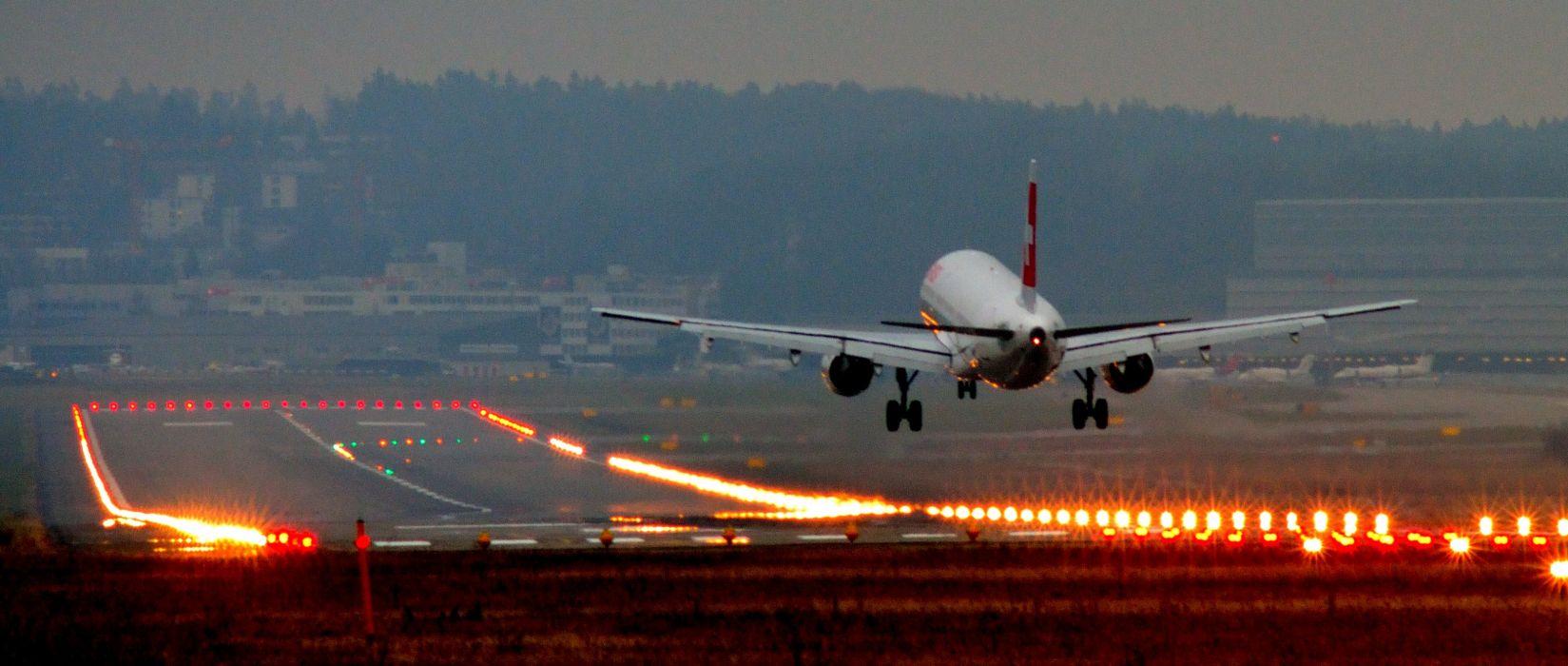 panorama dual monitor airplane landing wallpaper