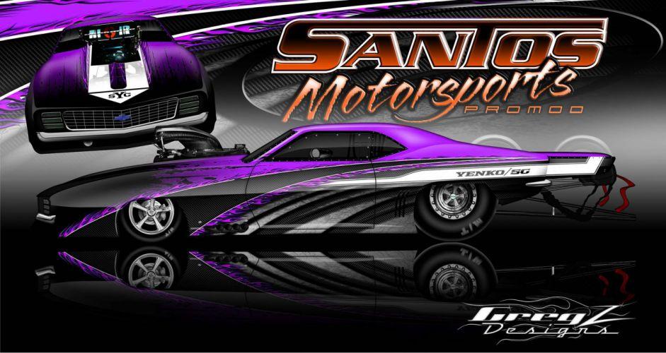 DRAG RACING hot rod rods race muscle chevrolet camaro yenko d wallpaper