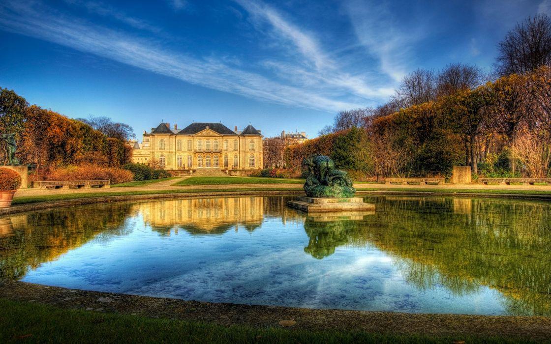 palacio paris francia arquitectura lago wallpaper