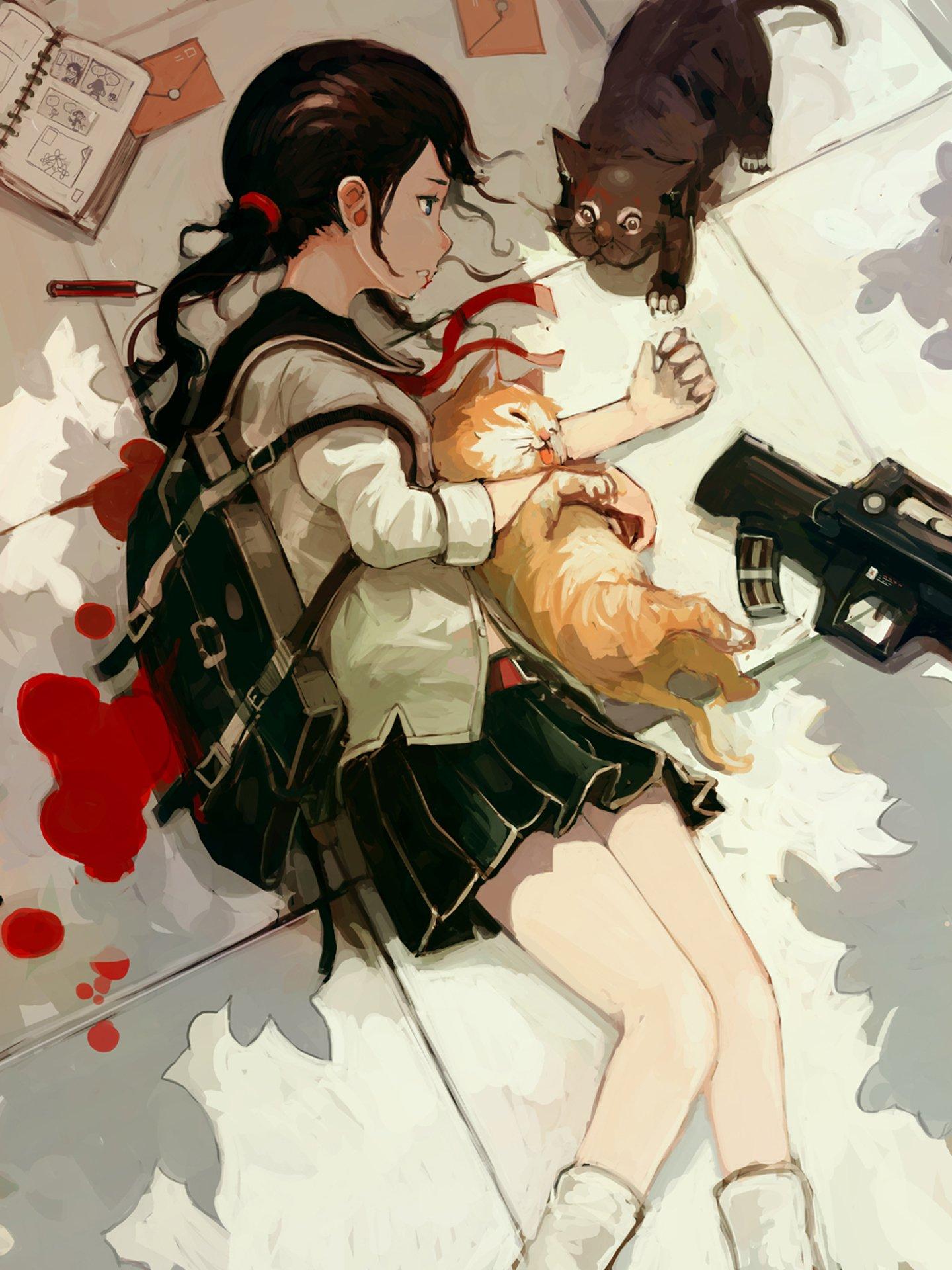 Anime Girl Cats Kitty Blood Book Pencil School Uniform