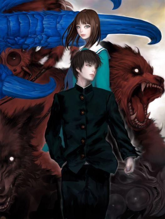 blush couple fantasy girl guy monster blue eyes school uniform wallpaper