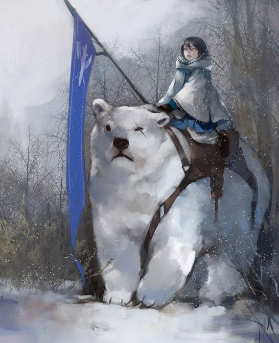fantasy sword winter snow anime girl animal wallpaper