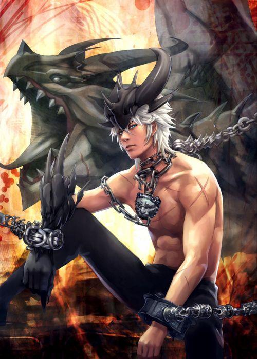game character guy cool revenge+of+dragoon-blue eyes short hair dragon fantasy wallpaper